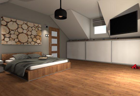 Sypialnia na poddaszu – wersja pierwsza