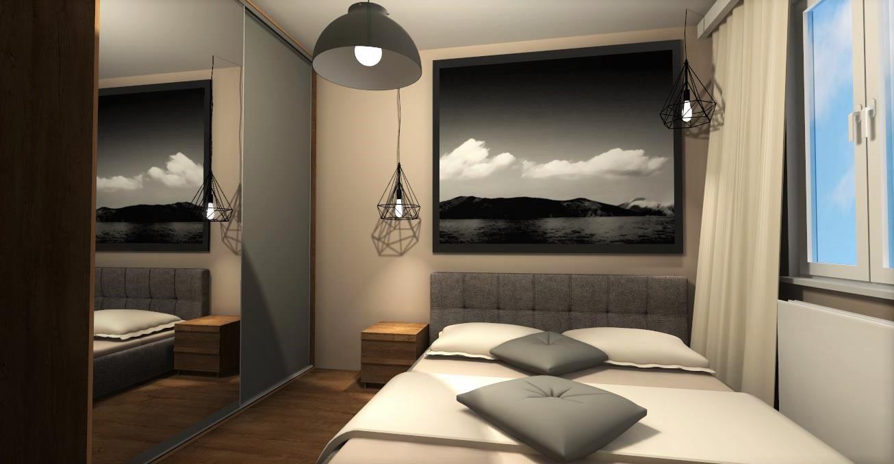 Sypialnia z akcentem industrialnym