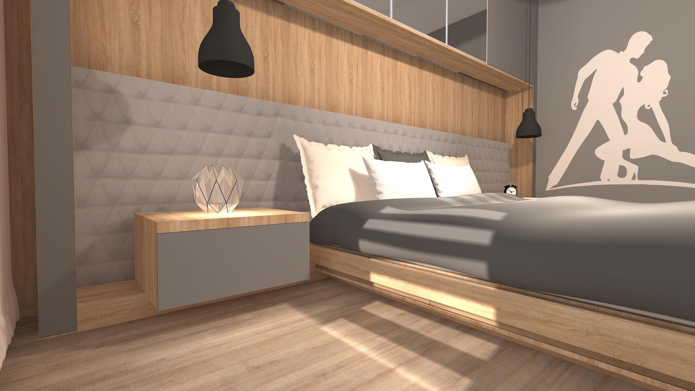 Skandynawska sypialnia z lustrem