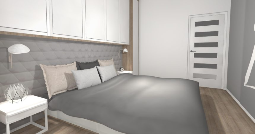Monochromatyczna sypialnia