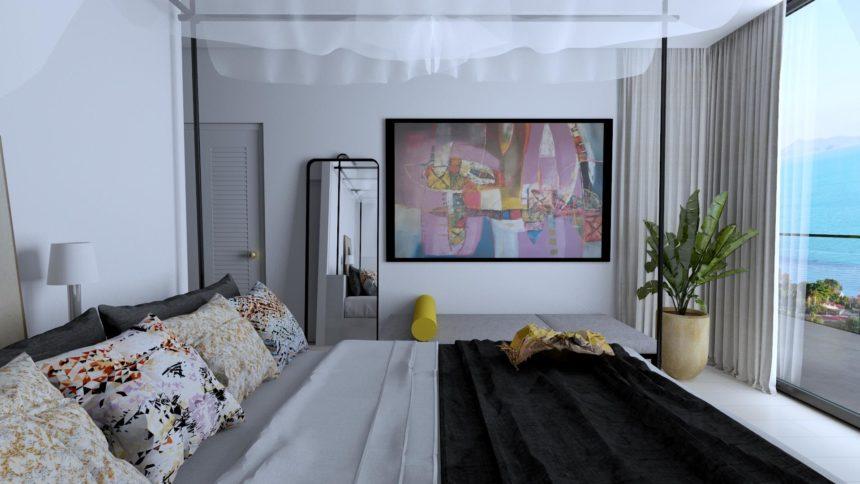 Sypialnia w apartamencie w Tajlandii